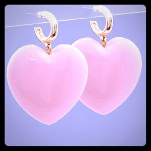 3 for $30 Puff Heart Huggies 15mm Post Pink Gold